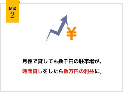 秘密2:月極で貸しても数千円の駐車場が、時間貸しをしたら数万円の利益に。